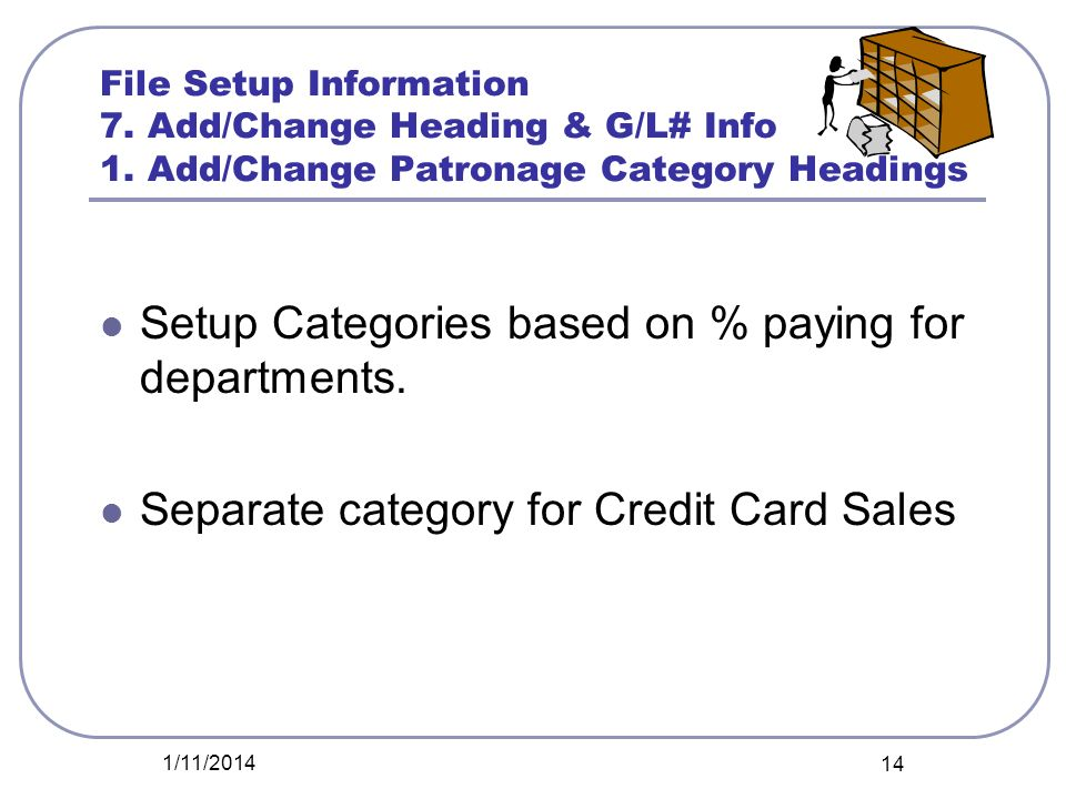 Setup Categories based on % paying for departments.