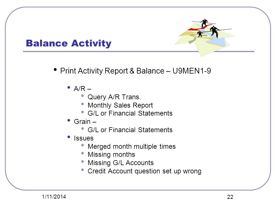 Balance Activity Print Activity Report & Balance – U9MEN1-9 A/R –