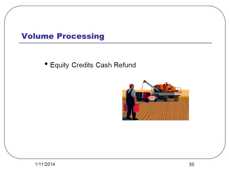 Volume Processing Equity Credits Cash Refund 3/25/2017