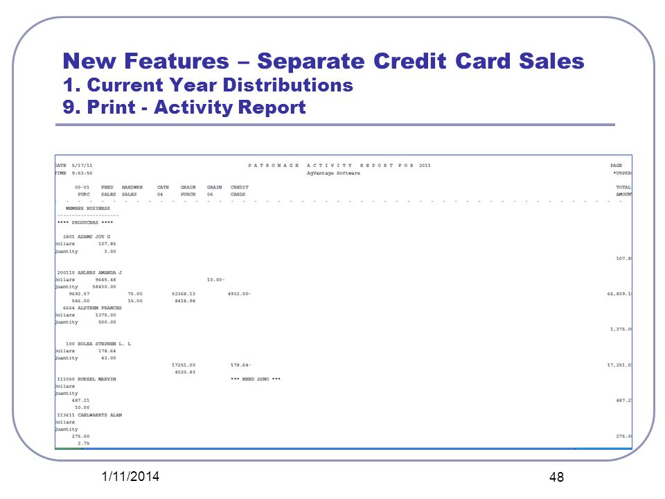 New Features – Separate Credit Card Sales 1