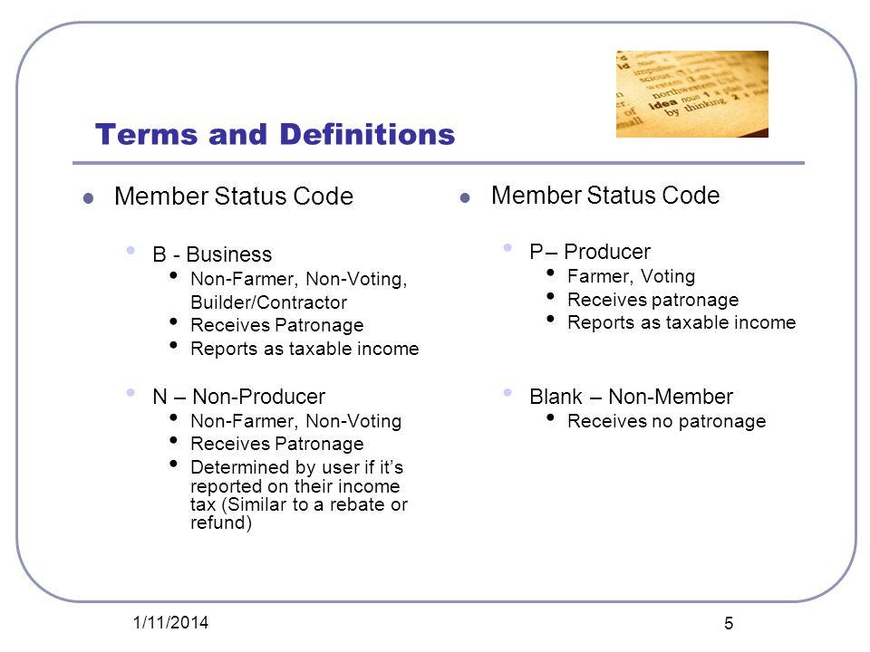 Terms and Definitions Member Status Code Member Status Code