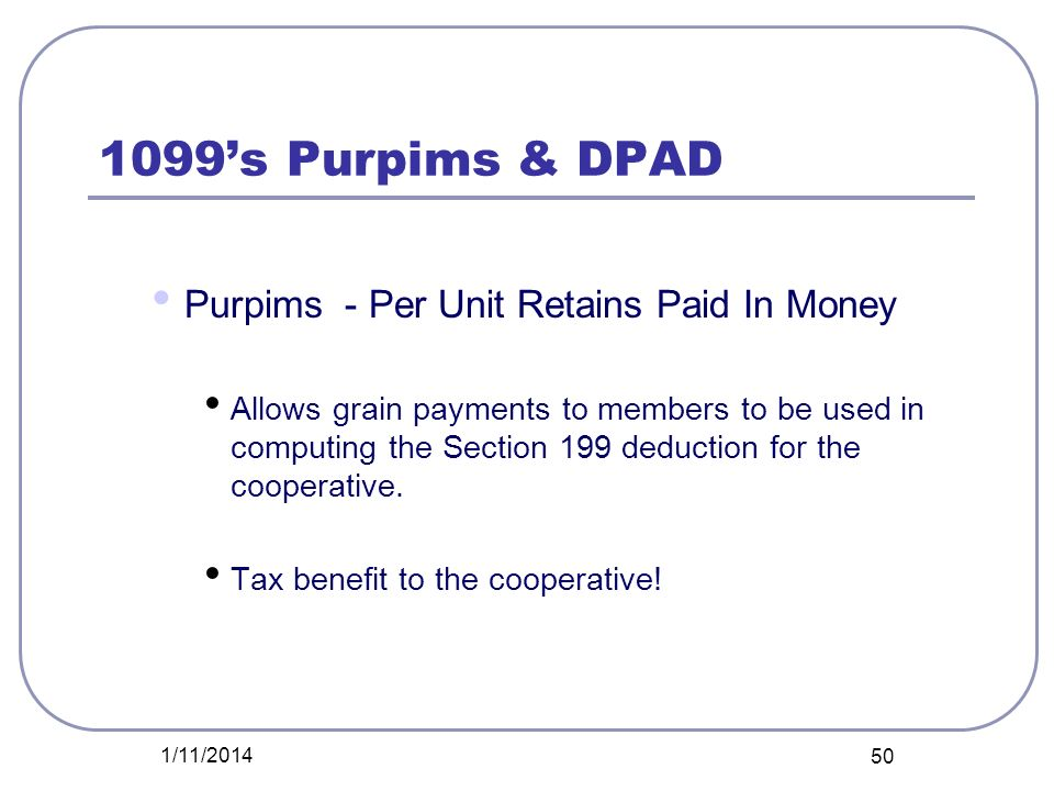 1099's Purpims & DPAD Purpims - Per Unit Retains Paid In Money