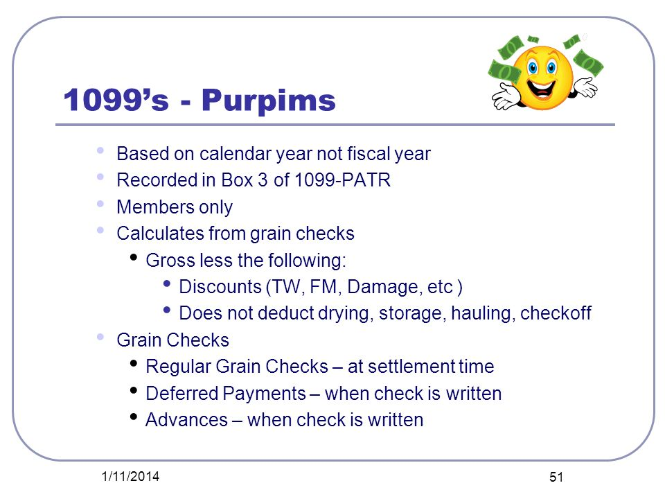 1099's - Purpims Based on calendar year not fiscal year