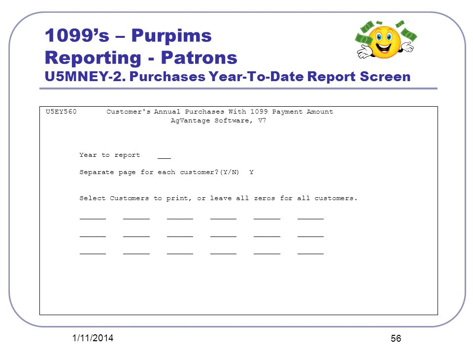 1099's – Purpims Reporting - Patrons U5MNEY-2