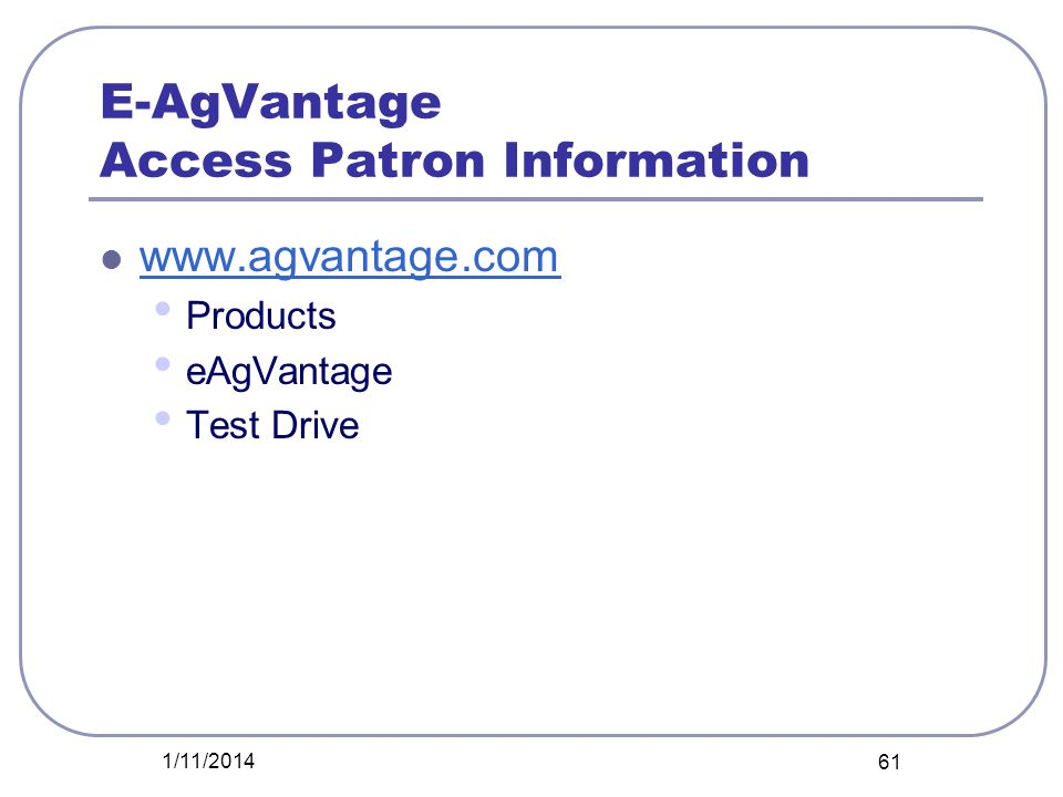 E-AgVantage Access Patron Information