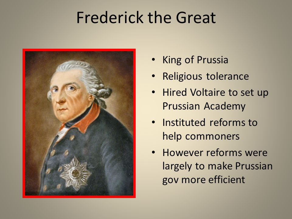 Frederick the Great King of Prussia Religious tolerance