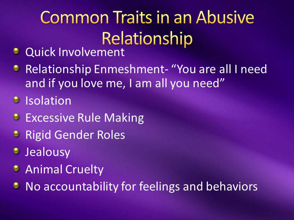 Common Traits in an Abusive Relationship