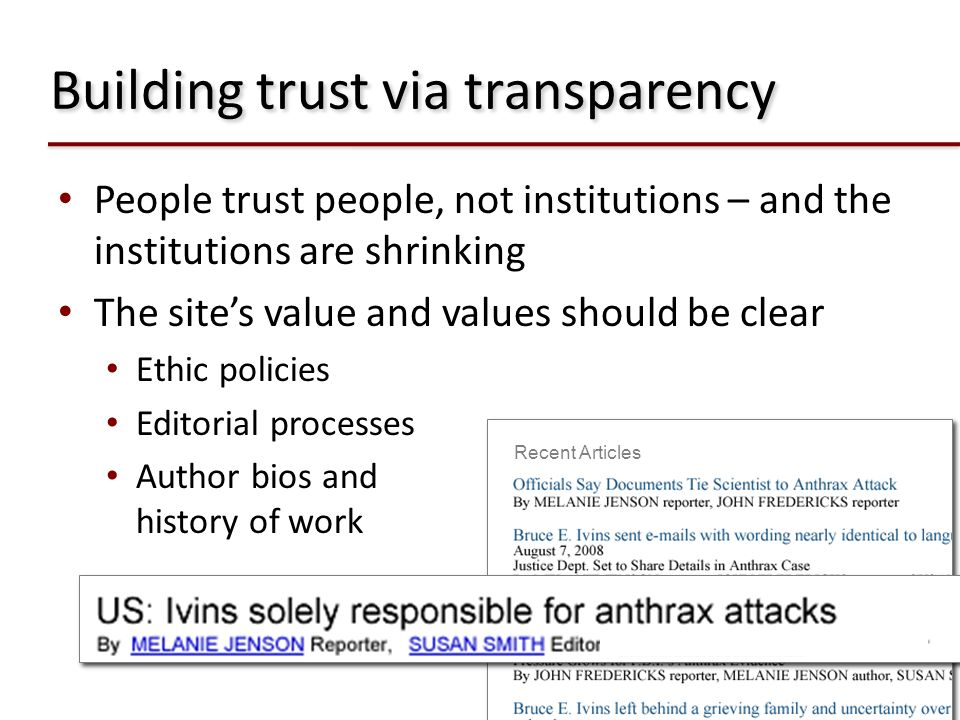 Building trust via transparency