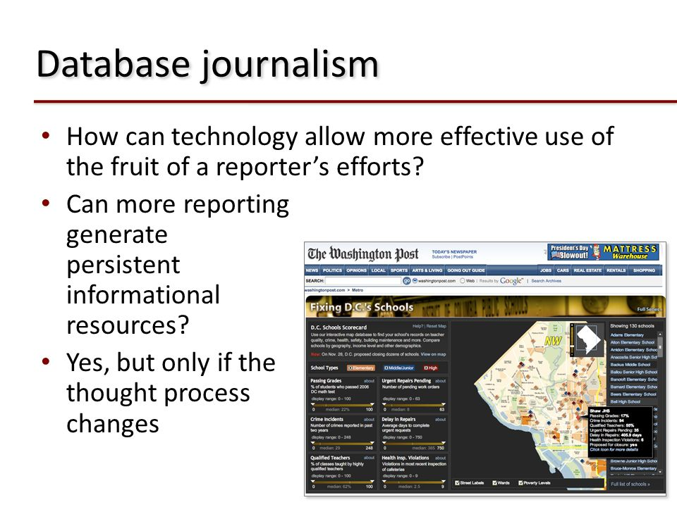 Database journalism How can technology allow more effective use of the fruit of a reporter's efforts
