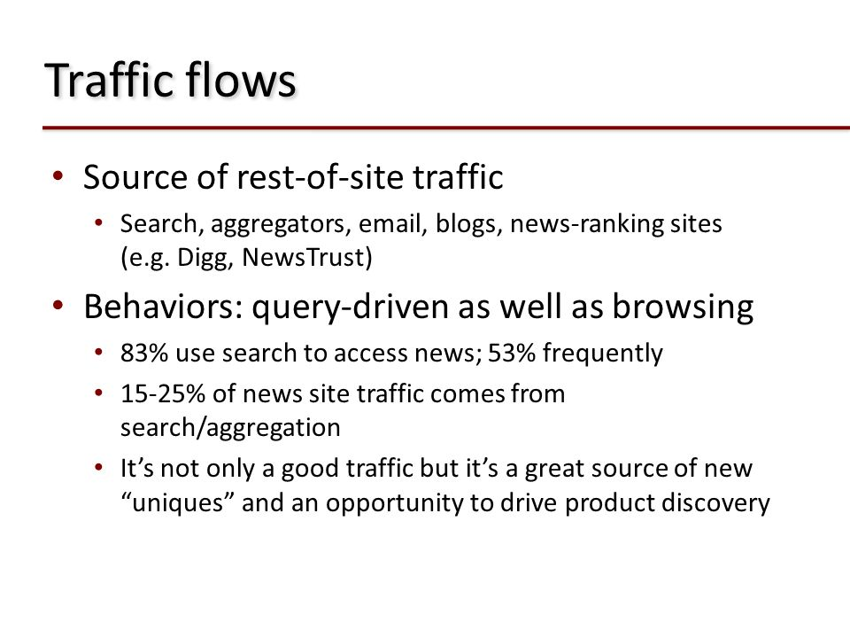 Traffic flows Source of rest-of-site traffic