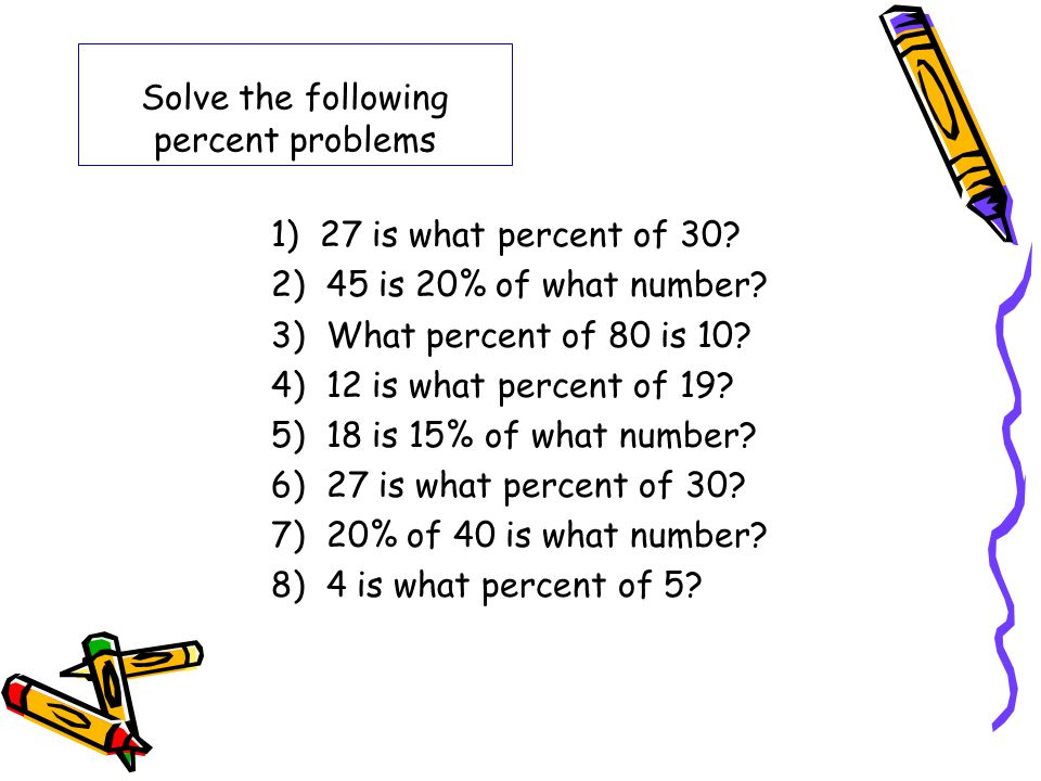 Solve the following percent problems