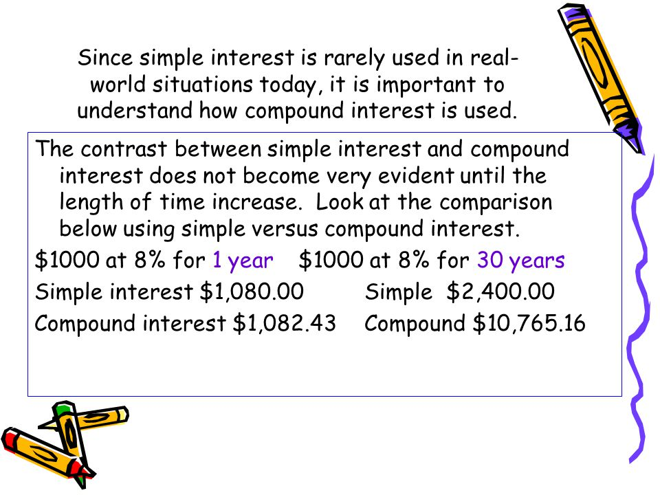 Since simple interest is rarely used in real-world situations today, it is important to understand how compound interest is used.