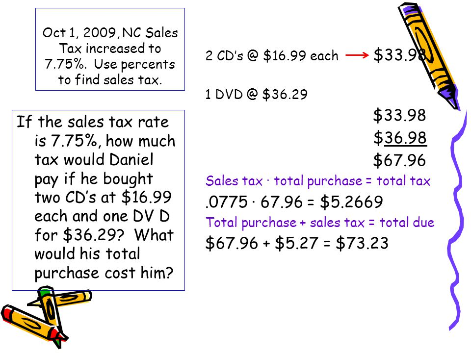 Oct 1, 2009, NC Sales Tax increased to 7. 75%