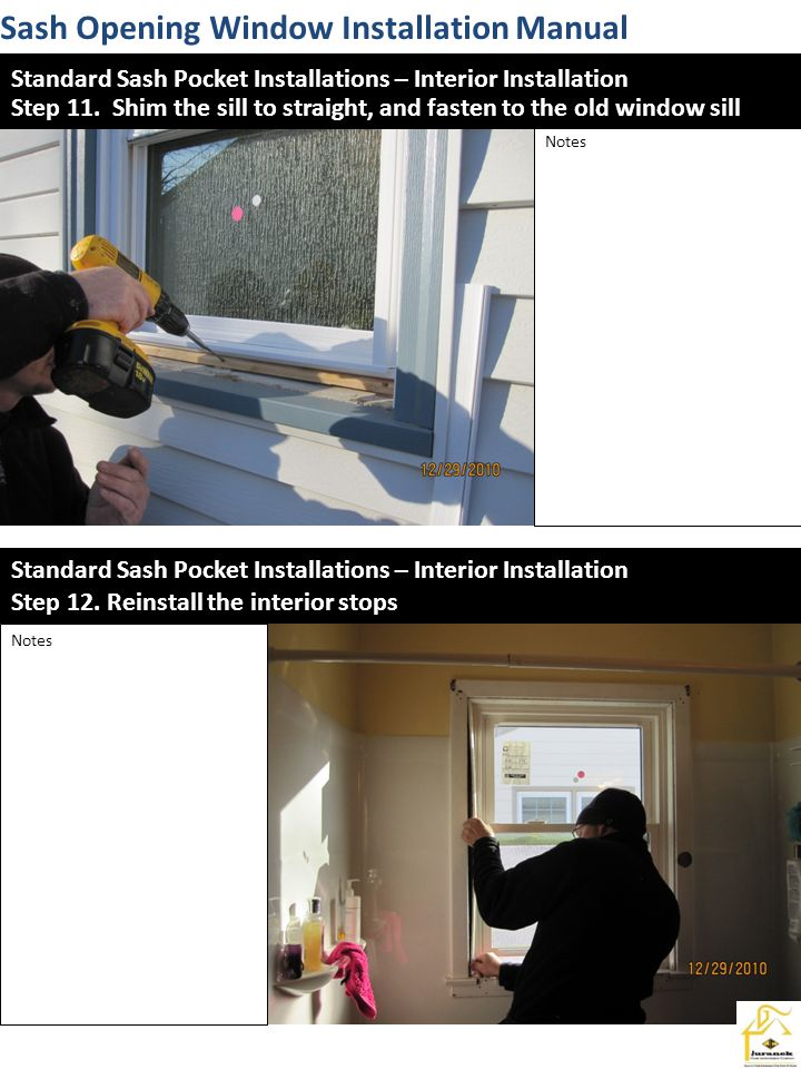 Sash Opening Window Installation Manual