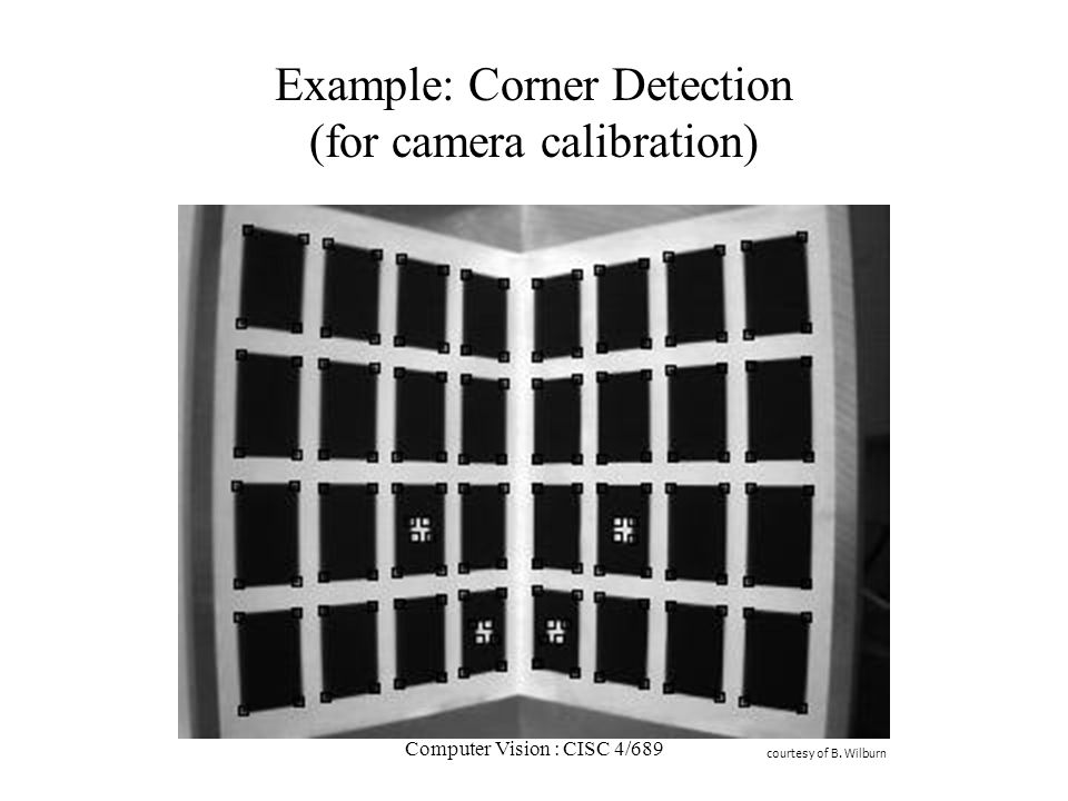 Example: Corner Detection (for camera calibration)