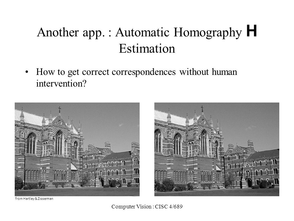 Another app. : Automatic Homography H Estimation
