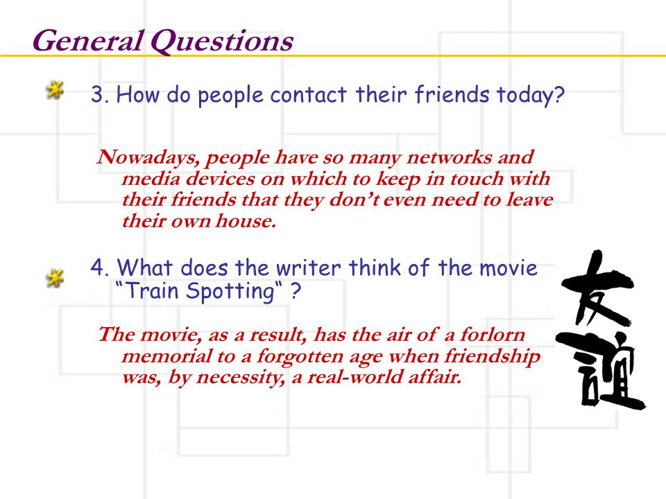 General Questions 3. How do people contact their friends today