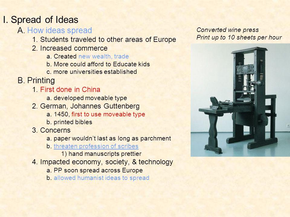 I. Spread of Ideas A. How ideas spread B. Printing