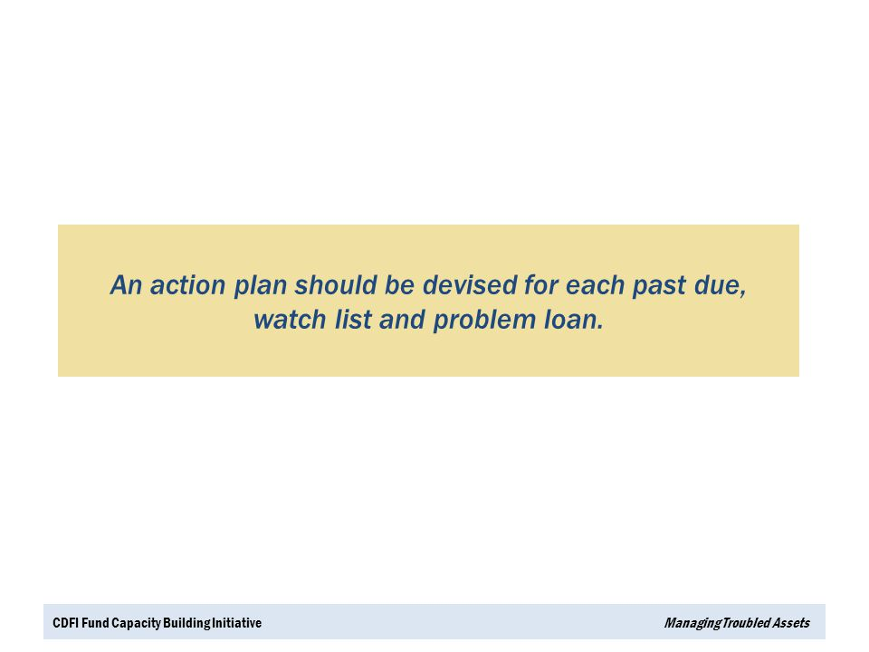 An action plan should be devised for each past due, watch list and problem loan.
