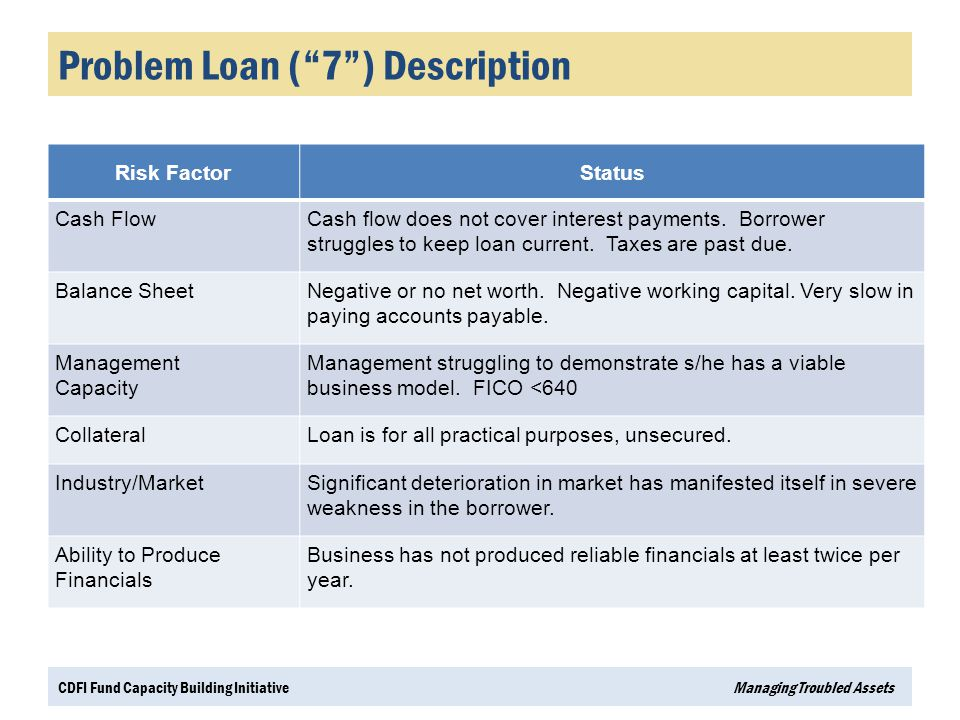 Problem Loan ( 7 ) Description