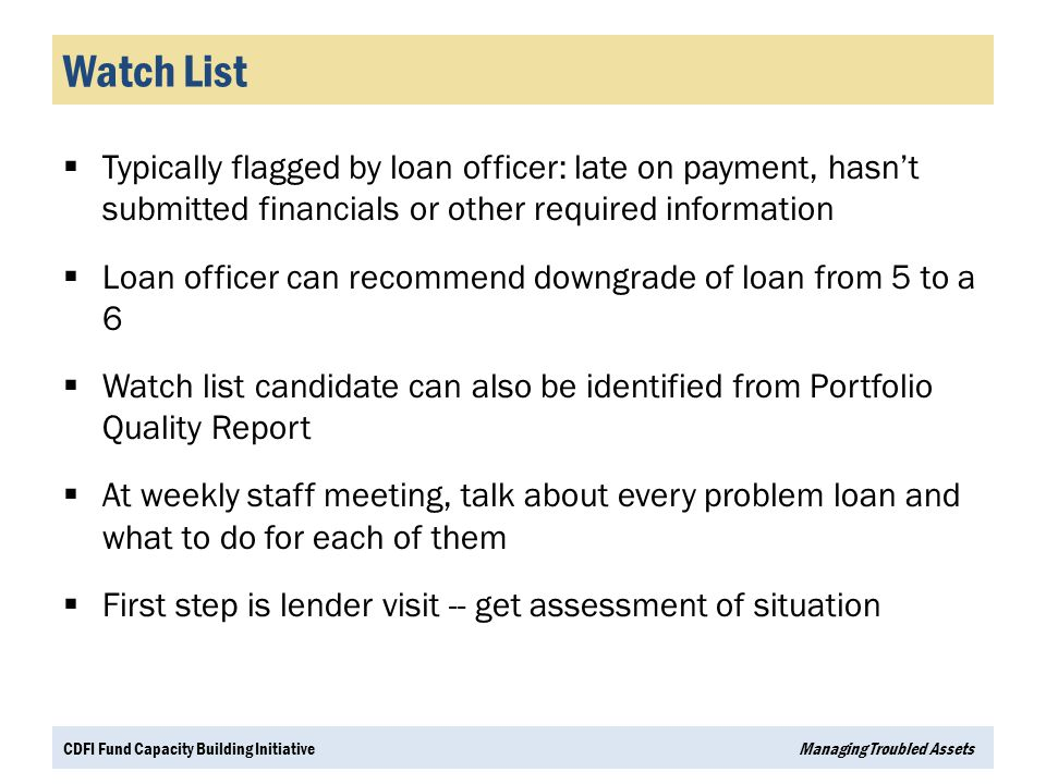 Watch List Typically flagged by loan officer: late on payment, hasn't submitted financials or other required information.