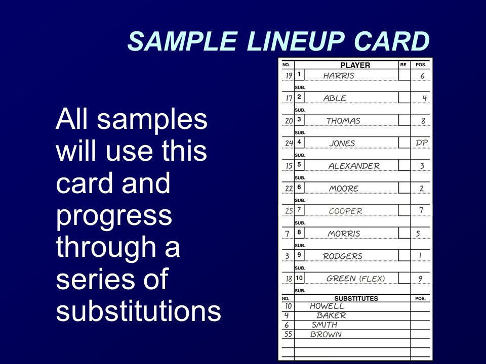 SAMPLE LINEUP CARD All samples will use this card and progress through a series of substitutions