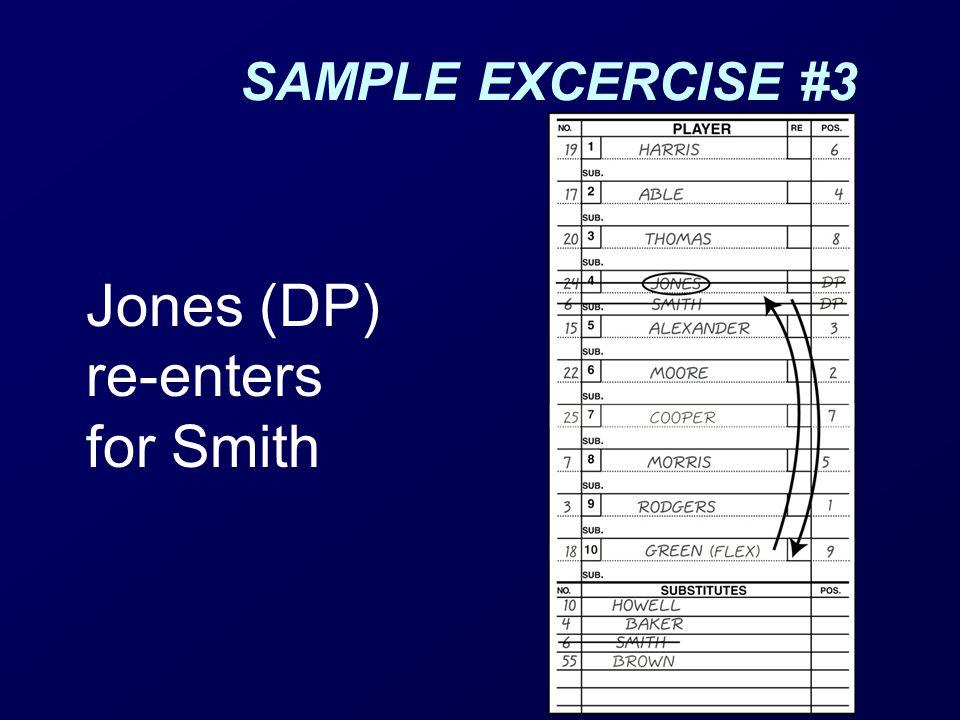 Jones (DP) re-enters for Smith