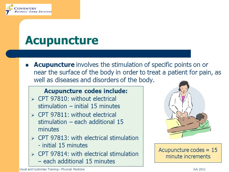 Acupuncture codes include: