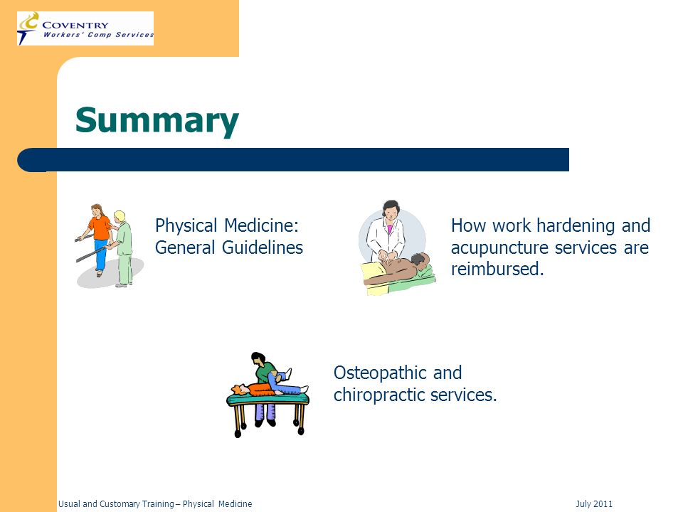 Summary Physical Medicine: General Guidelines
