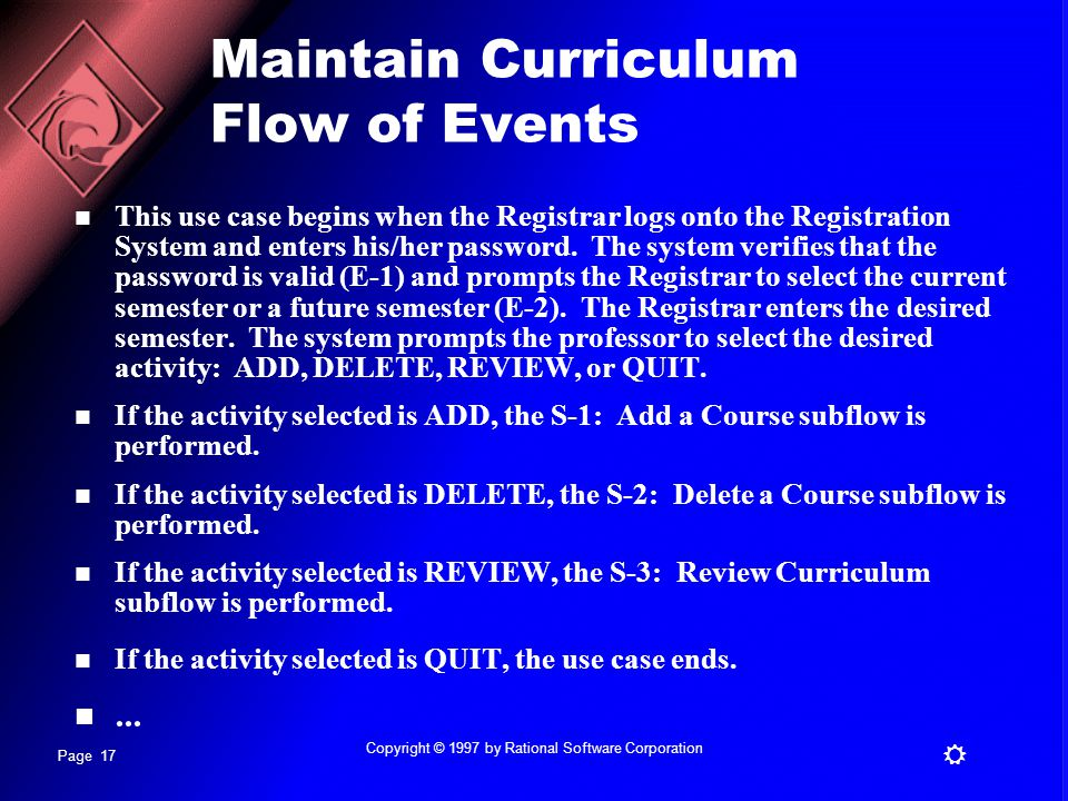 Maintain Curriculum Flow of Events