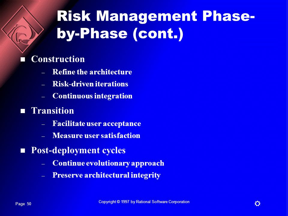 Risk Management Phase-by-Phase (cont.)