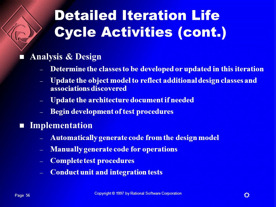 Detailed Iteration Life Cycle Activities (cont.)