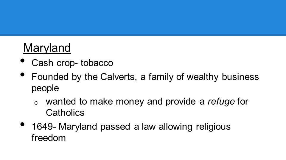 Maryland Cash crop- tobacco