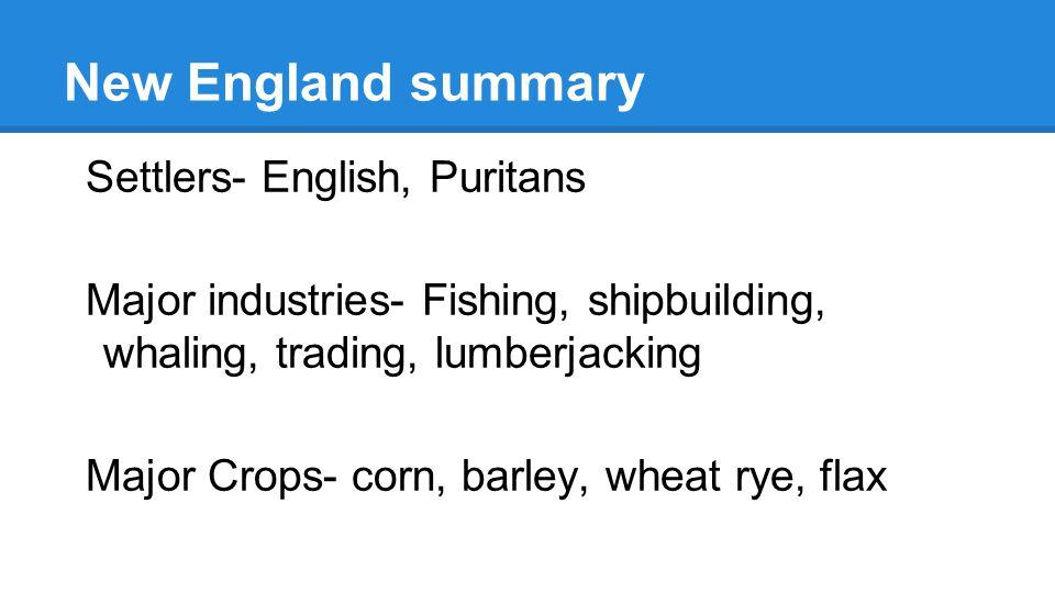 New England summary Settlers- English, Puritans