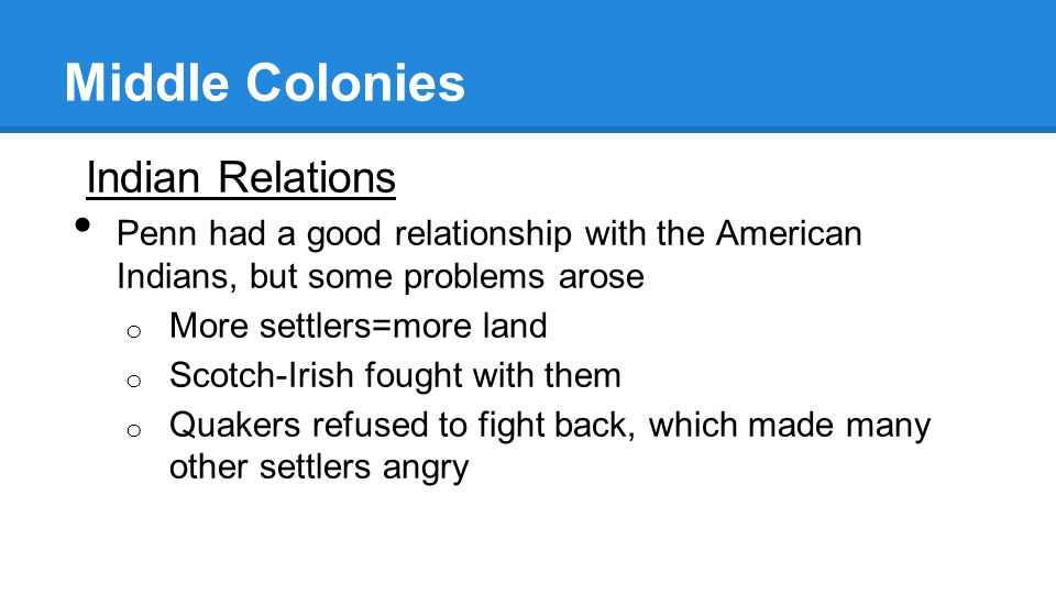 Middle Colonies Indian Relations
