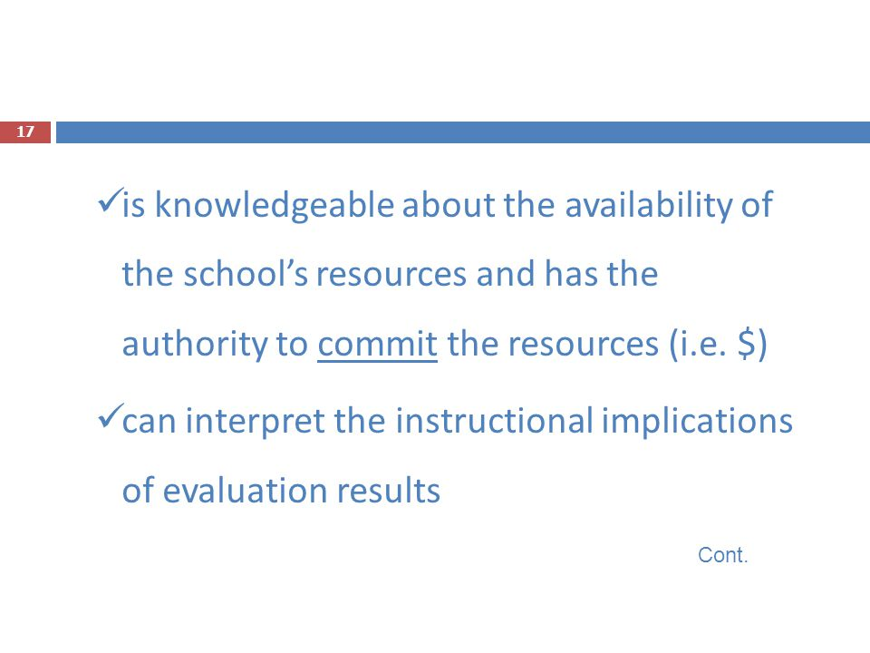 can interpret the instructional implications of evaluation results
