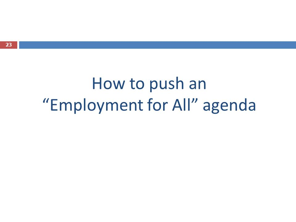 How to push an Employment for All agenda