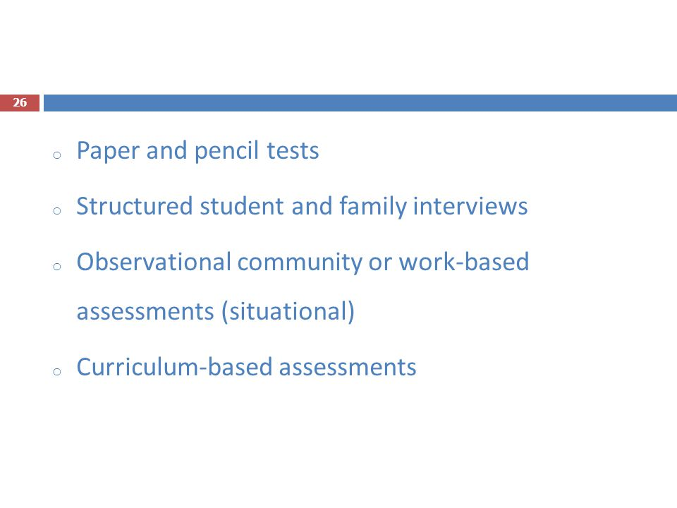 Structured student and family interviews