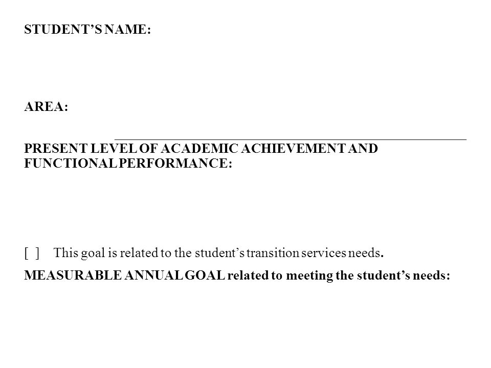Present Level of academic achievement AND functional Performance: