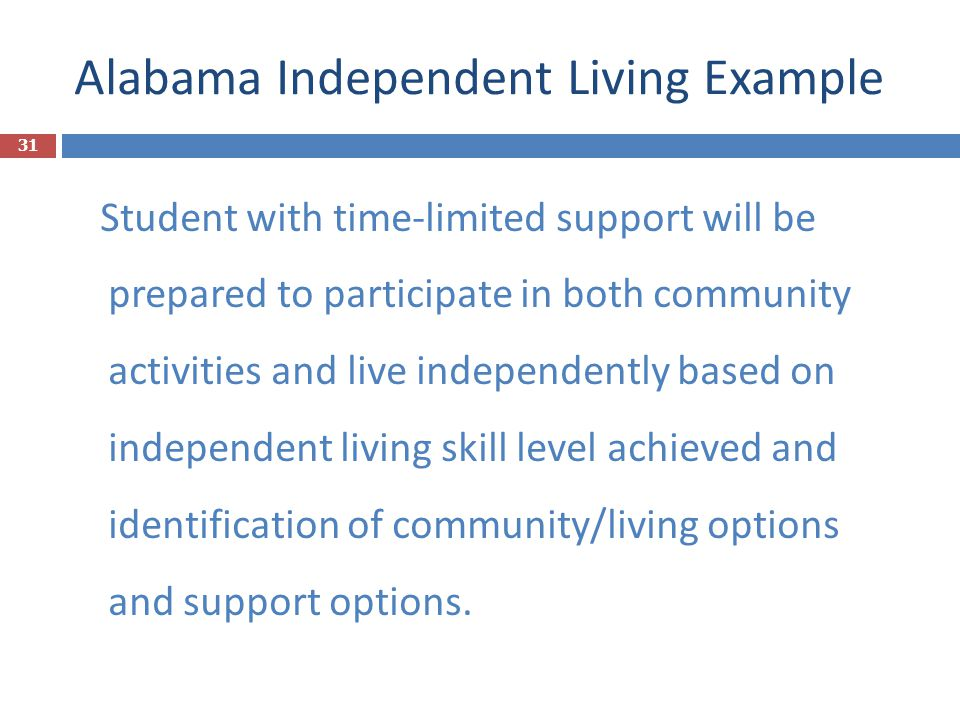 Alabama Independent Living Example