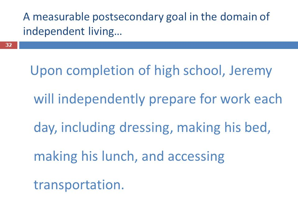 A measurable postsecondary goal in the domain of independent living…