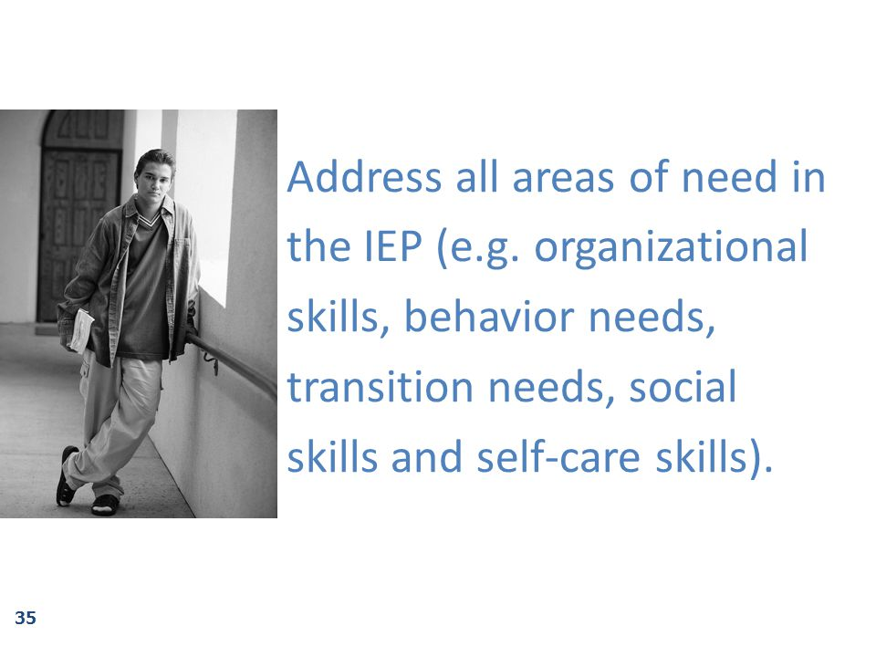 Address all areas of need in the IEP (e. g
