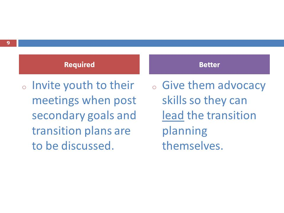 Required Better. Invite youth to their meetings when post secondary goals and transition plans are to be discussed.