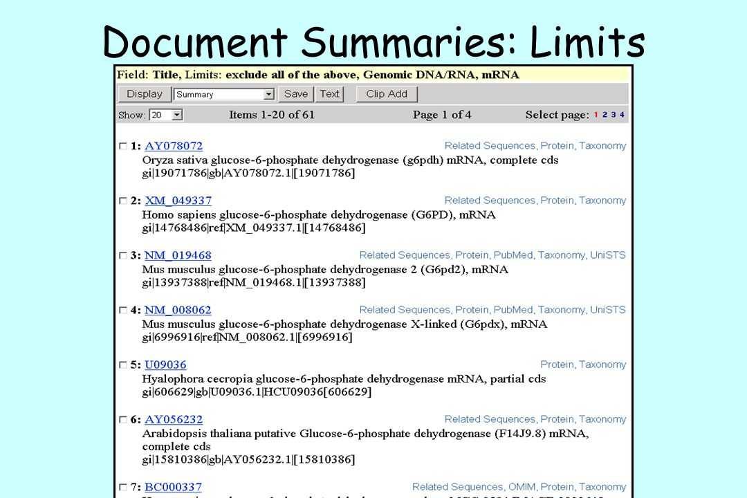 Document Summaries: Limits