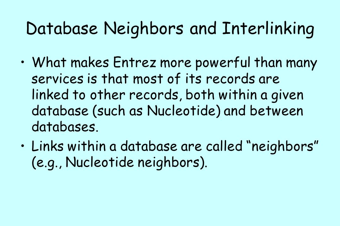 Database Neighbors and Interlinking