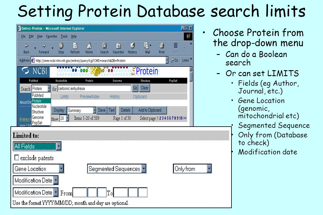 Setting Protein Database search limits