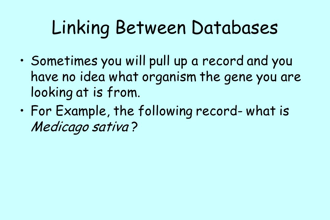 Linking Between Databases