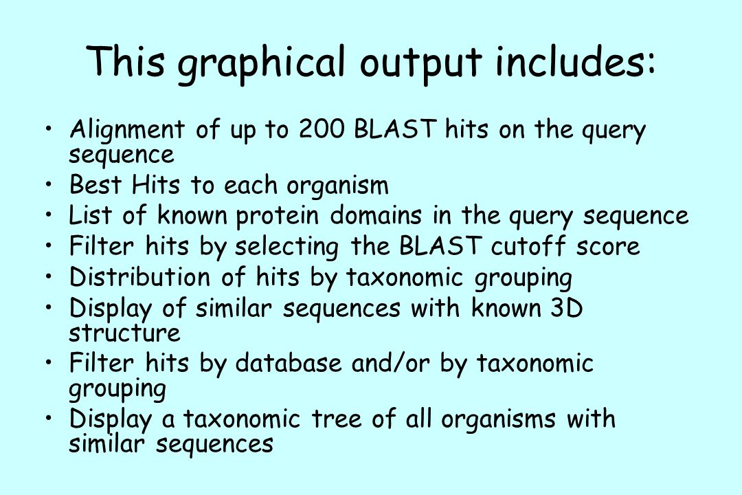 This graphical output includes: