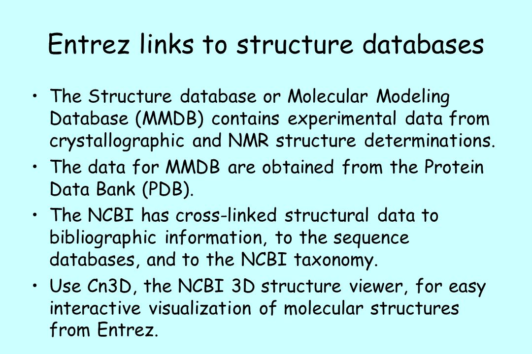 Entrez links to structure databases