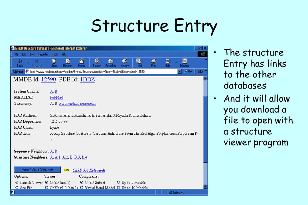 Structure Entry The structure Entry has links to the other databases